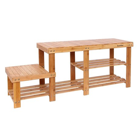 Enjoyable 2 Tier Bamboo Shoe Bench Shoe Rack Boot Organizer Storage Ocoug Best Dining Table And Chair Ideas Images Ocougorg