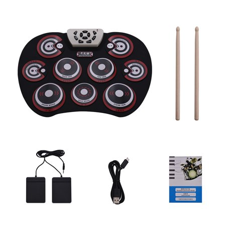 Electronic Drum Pad USB Cable Foldable Roll Up Digital Drum Set with Drumsticks Double Foot Pedals Percussion Instrument Drumpad for Kids Beginners Professionals - image 6 of 6