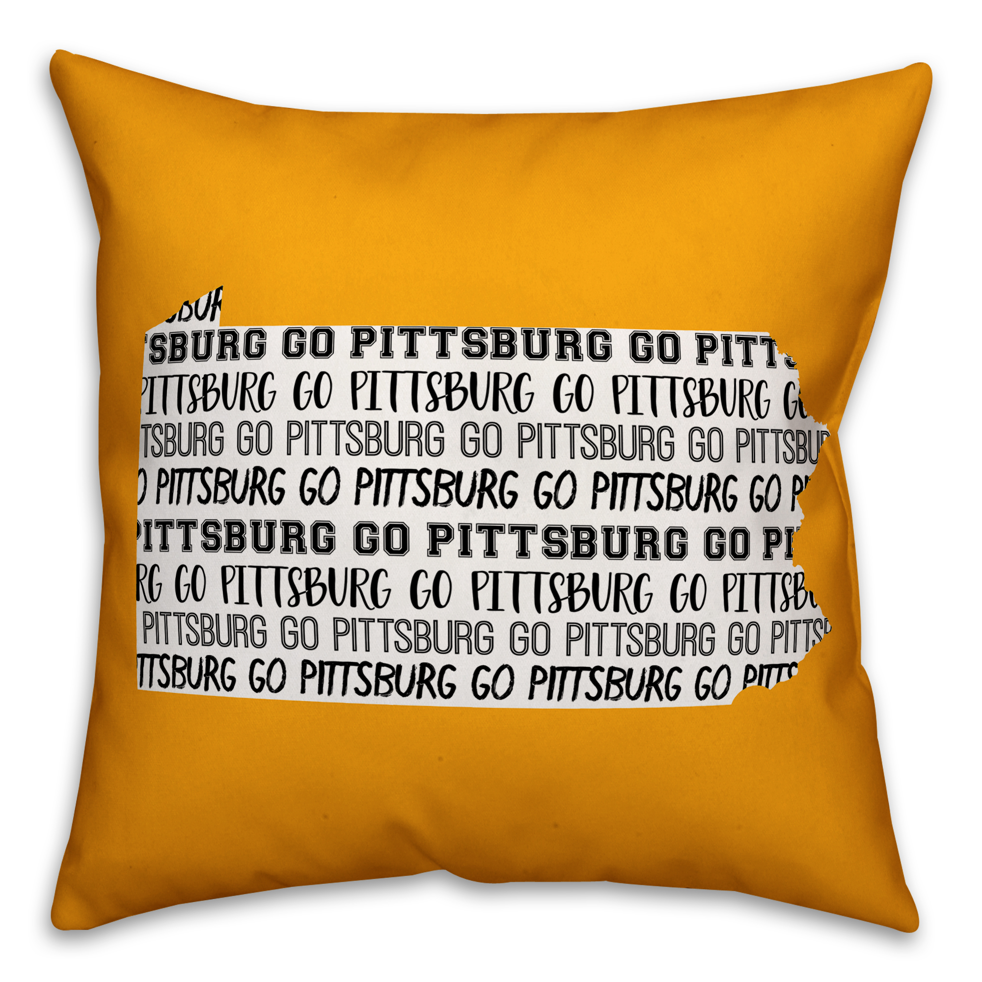 Yellow Pennsylvania Go Team 16x16 Spun Poly Pillow