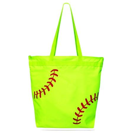 Softball Laces Tote Bag - Softball Player Women's Zipper Sports Bag - Neon Yellow