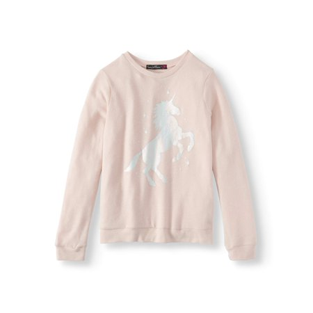 - Foil Unicorn Long Sleeve Sweater Knit Top (Big Girls)