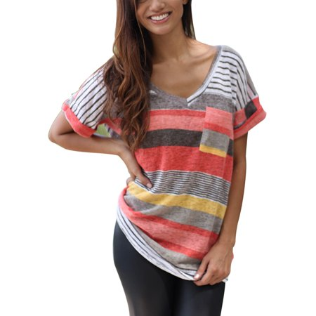Plus Size Womens Casual V Neck Colorful Striped T Shirt Ladies Short Sleeve Blouse Tops Casual Tee - Plus Size Fairy