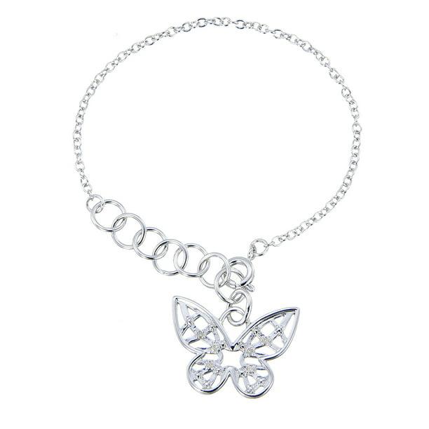 1//20 cttw Diamond Charm Bracelet in Brass with Rhodium Plating Key Adjustable