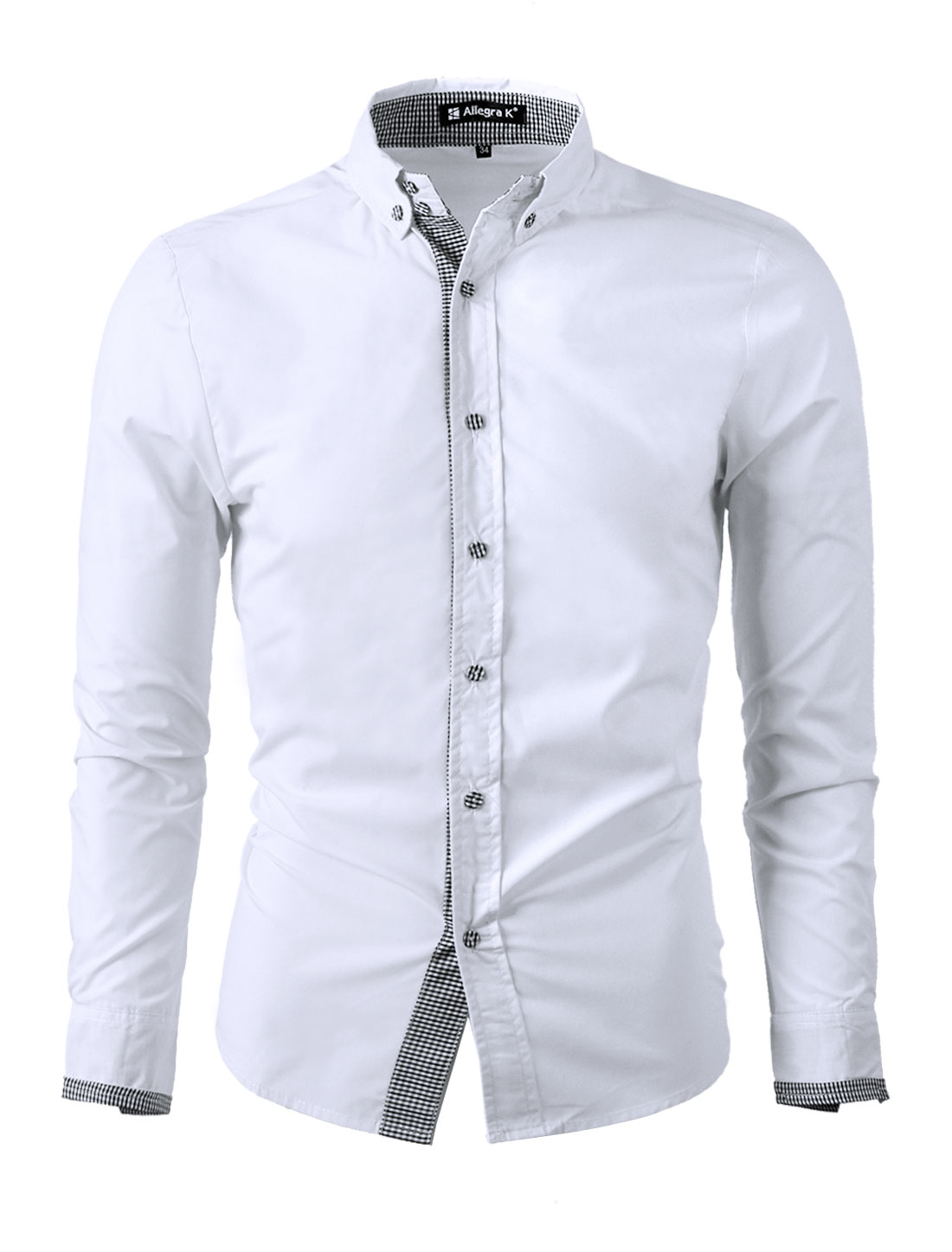 Unique Bargains Mens New Style Point Collar Long Sleeve Button