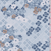 Soft Blue Floral Lattice Print Micro Mesh, Fabric By the Yard