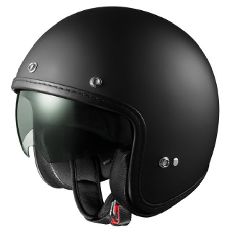 GLX AR15 DOT Open Face Scooter Bobber Motorcycle Helmet w/ Sun Shield Matte Black (X-Small)