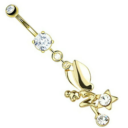 Belly Button Ring CZ Star Fairy Dangle 14kt Gold Plated Navel Ring