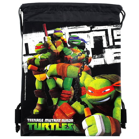 Ninja Turtles TMNT Character Authentic Licensed Black Drawstring Bag](Teenage Mutant Ninja Turtles Backpack For Kids)