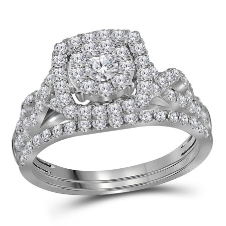 14Kt White Gold Womens Round Diamond Cluster Bridal Wedding Engagement Ring Band Set 1 00 Cttw