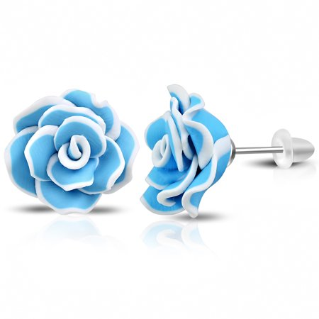 Stainless Steel Blue White Polymer Clay Flowers Rose Stud Earrings, 0.85