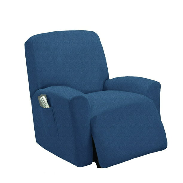 MarCielo One Piece Stretch Recliner Slipcover Stretch Fit Furniture Chair Recliner Lazy Boy Cover Slipcover 1 Piece Couch Cover (Blue)