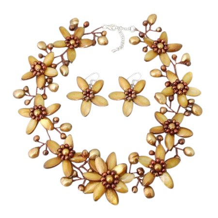 Stunning Golden Bouquet of Tropical Flowers Shell & Pearl Jewelry Set ()