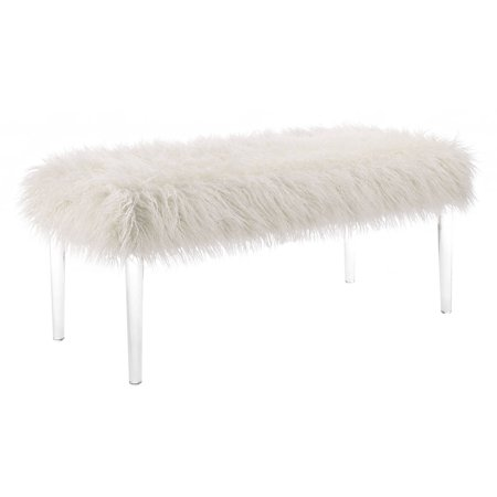 Clara Bench - Linon Faux Flokati Acrylic Leg Bench, 18 inches High