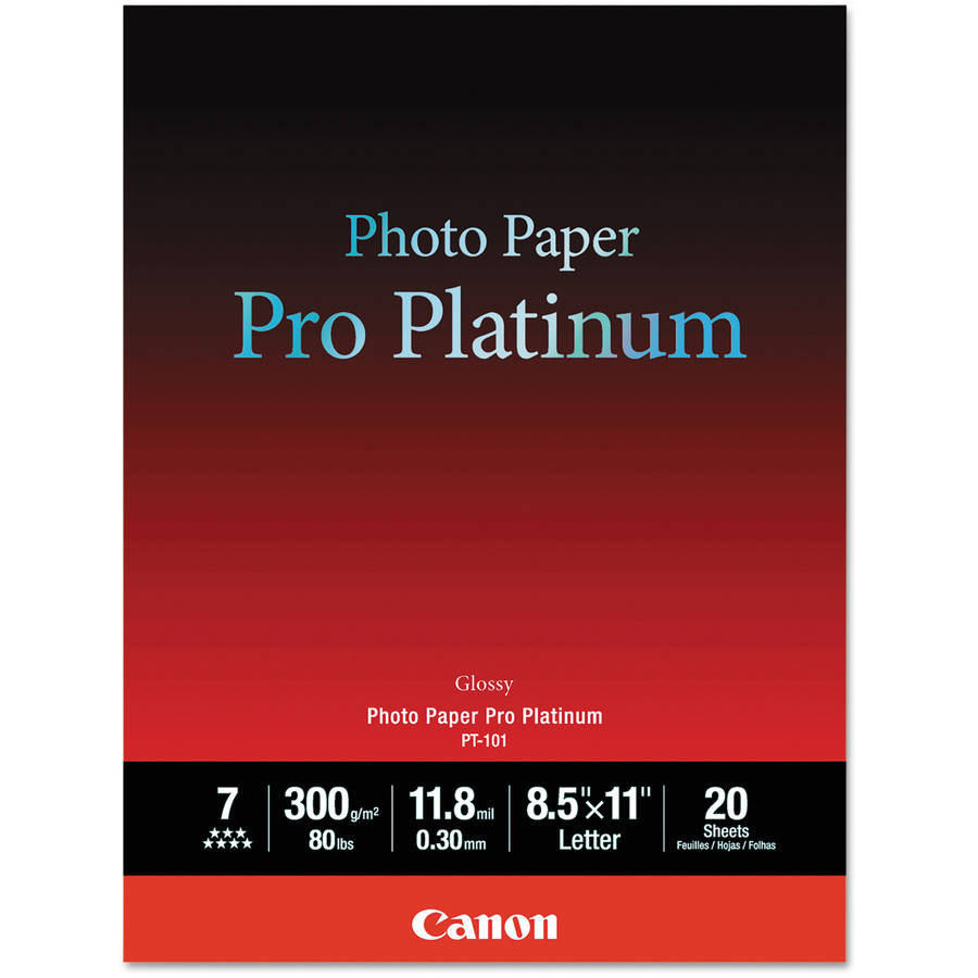 "Canon Pro Platinum 80-lb Photo Paper, 8-1/2"" x 11"", Glossy, 20 Sheets"