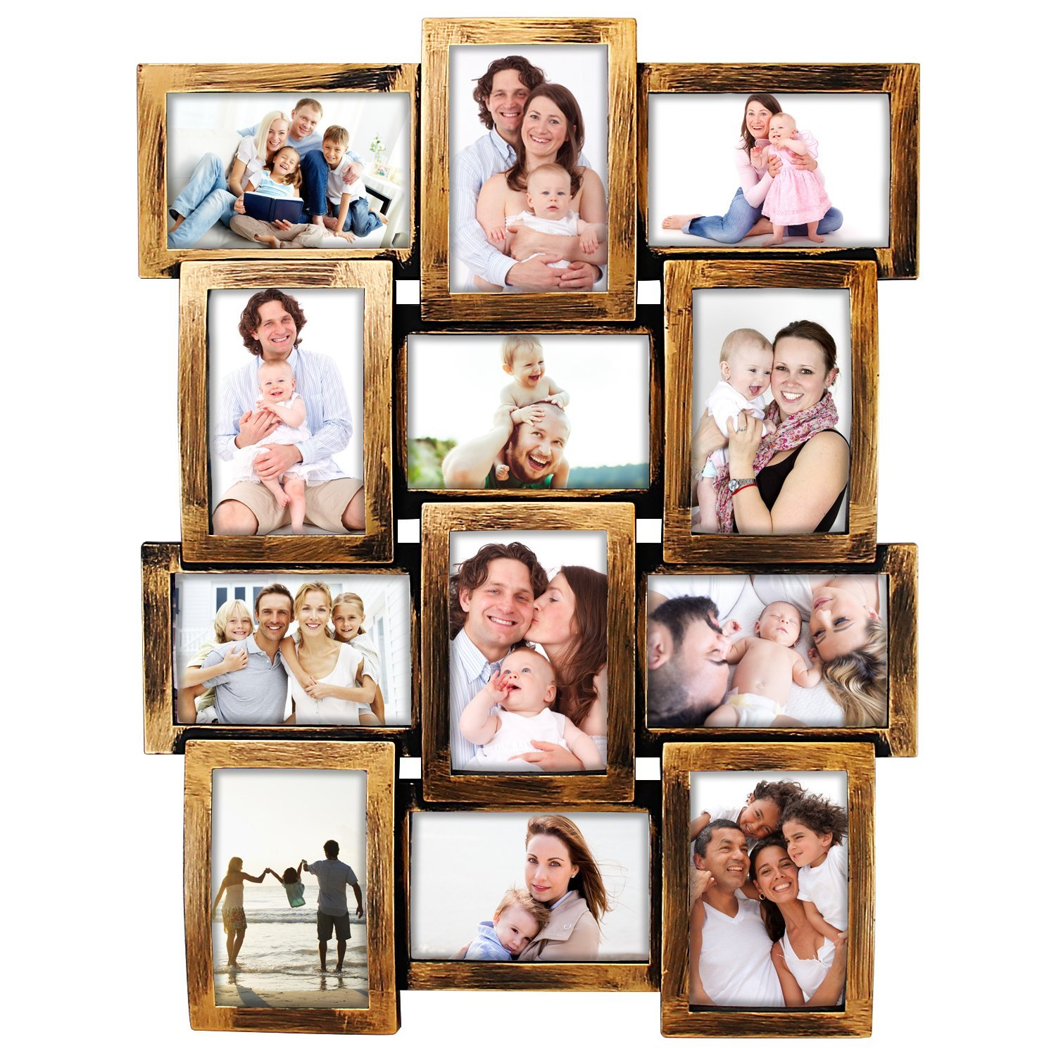 DL furniture - Photo Frame 23X18 Retro Bronze Finish PVC Picture Frame Selfie Gallery Collage Wall Hanging For 6x4 Photo - 12 Photo Sockets - Classic Loyalty Style - Wall Mounting Design