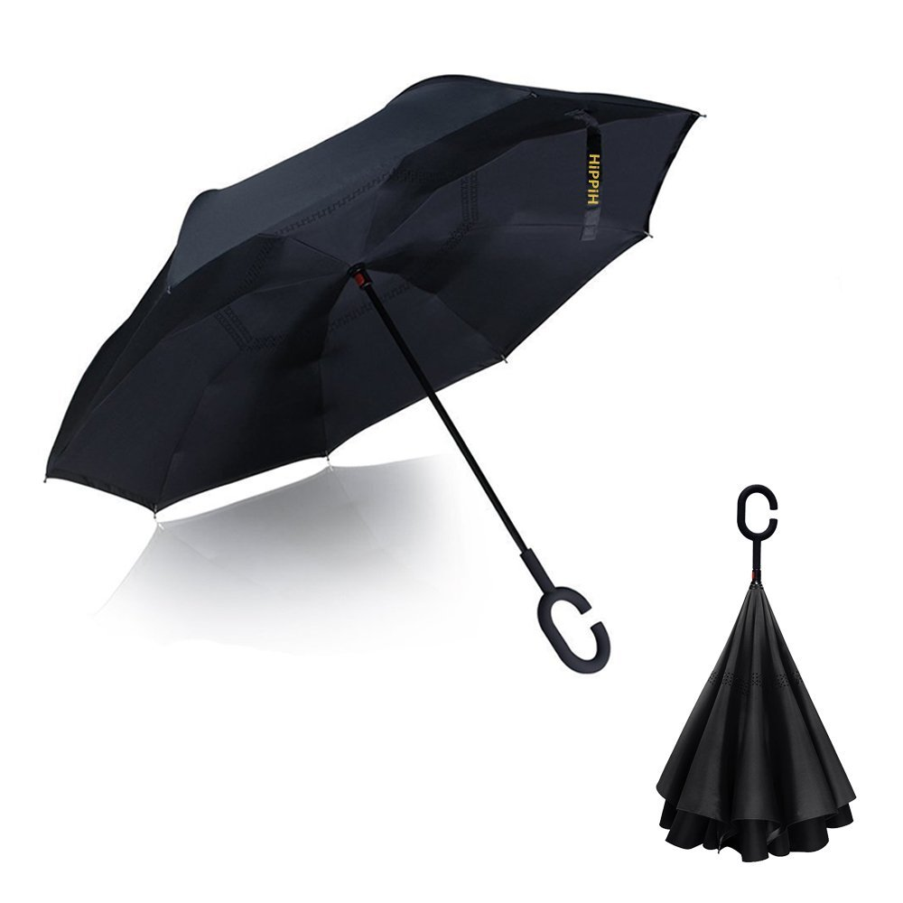 Intency Double Layer Wind Proof, Hippih UV Proof Reverse Folding Inverted Umbrella Travel Umbrella with C Shape Handle and Carrying Bag