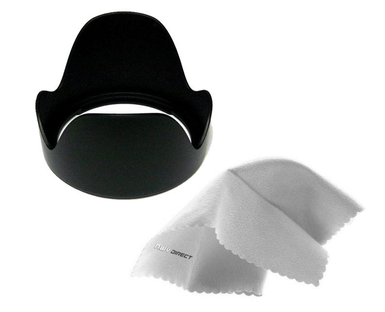 Nikon D3300 Pro Digital Lens Hood 72mm + Nw Direct Microfiber Cleaning Cloth. Flower Design