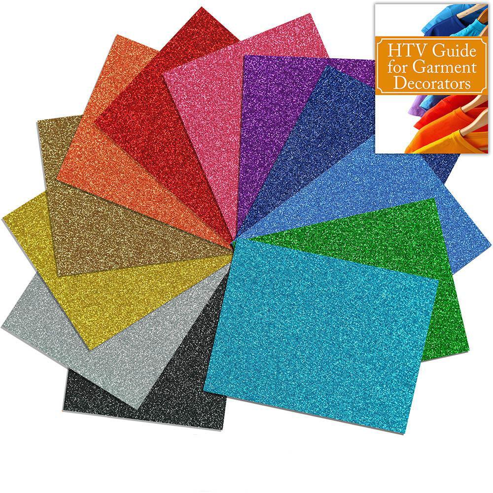Siser Glitter Heat Transfer Assorted Starter Bundle 12 Top Color Sheets - 12 Inch x 20 Inch