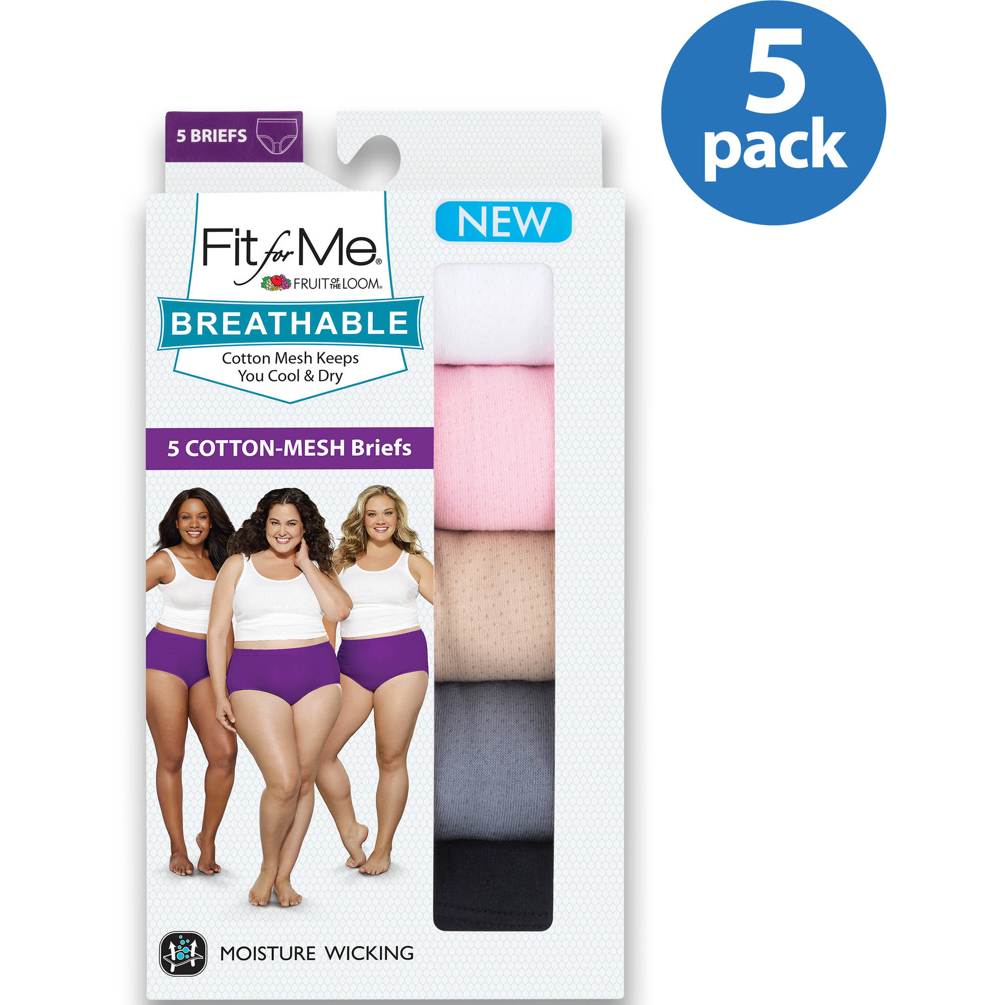 Fit For Me by Fruit of the Loom Breathable Cotton Briefs, 5-pack Plus Size Panties