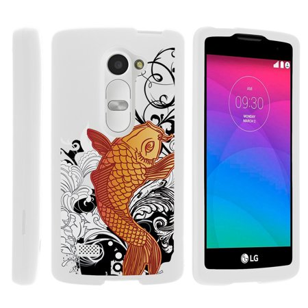 LG Leon C40, Sunset L33L, Tribute 2 LS665, [SNAP SHELL][White] 2 Piece Snap On Rubberized Hard White Plastic Cell Phone Case with Exclusive Art -  Koi - Fish Mobile