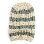 Women's Striped Slouch Beanie Hat OSFM Ivory