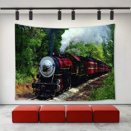 CADecor Vintage Steam Train Cross the Forest Tapestry Wall Hanging Wall Decor 40x60