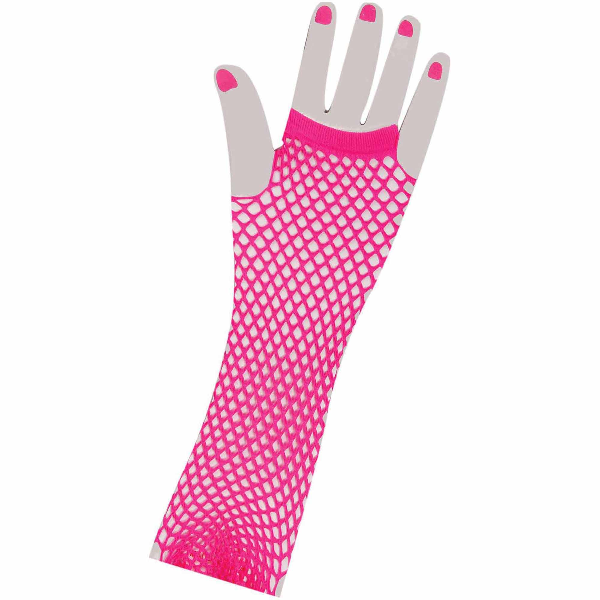 80's Neon Pink Long Fishnet Gloves Adult Halloween Accessory