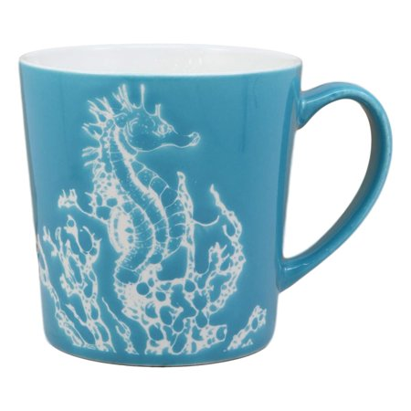 Ocean Blue Cup (Ebros Nautical Ocean Marine Seahorse Drinking Beverage Blue Stoneware Ceramic Mug 16oz Drink Coffee Cup Safari Themed Glazed Earthenware Kitchen And Dining Mugs Accessory Coastal Sea Horses Decor )