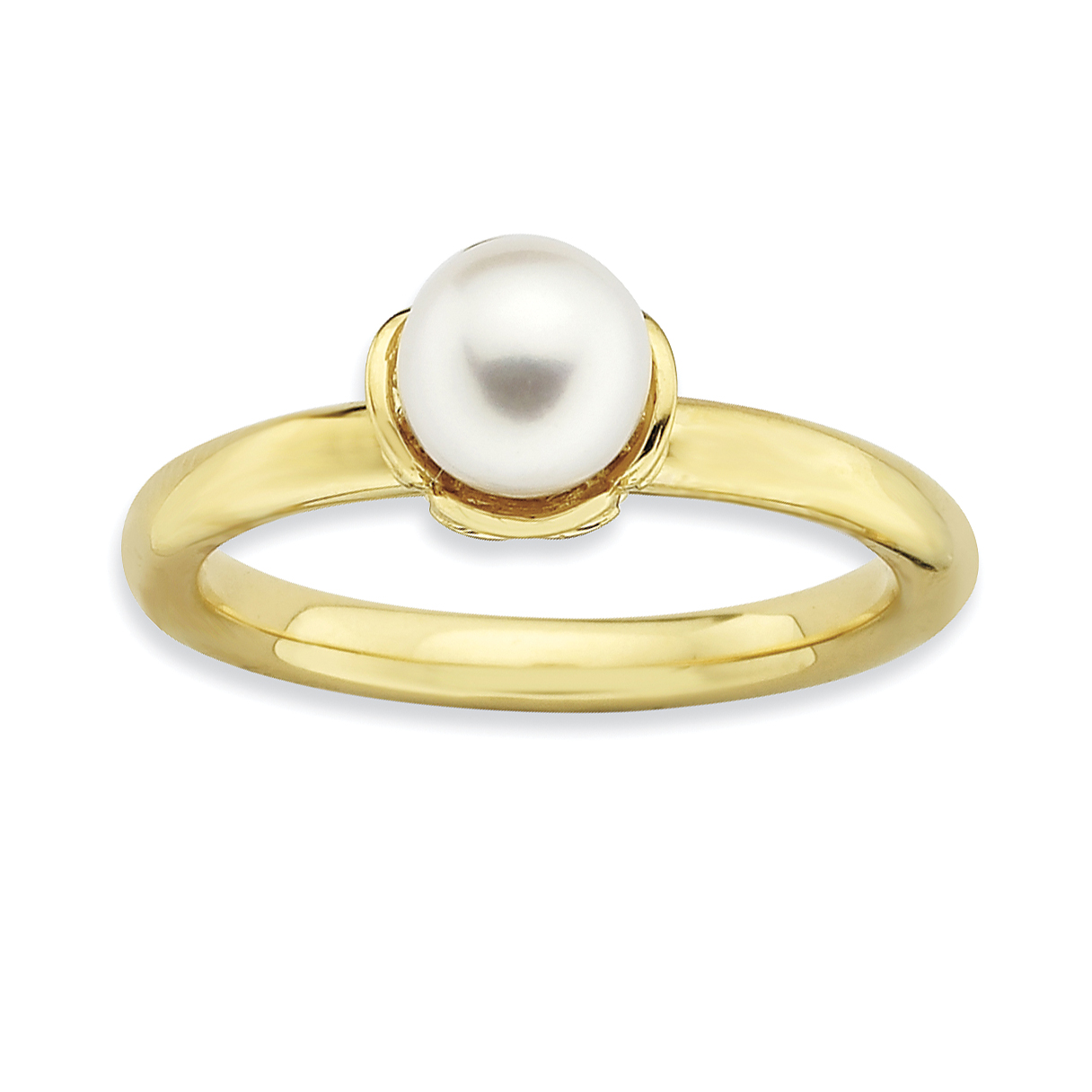 Roy Rose Jewelry Sterling Silver Stack Expressions White Freshwater Cultured Pearl Gold-plated Ring ~ Size 10