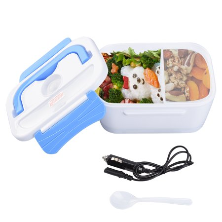 Uarter 12V Car Use Heating Lunch Box Electric Food Warmer Meal Heater Detachable Lunch Container, Blue and