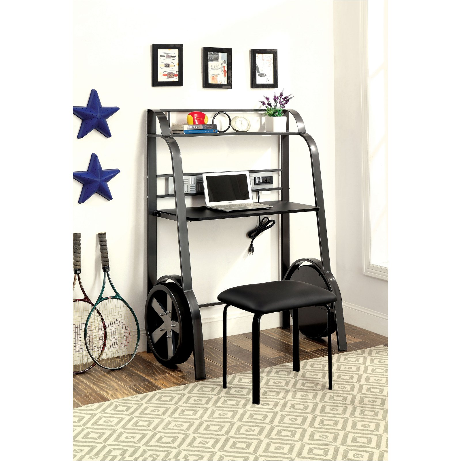 Furniture of America Almirel Racer Child Desk - Gun Metal