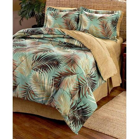 Palm Fronds Tropical Beach Hawaiian Queen Comforter Set 8 Piece Bed