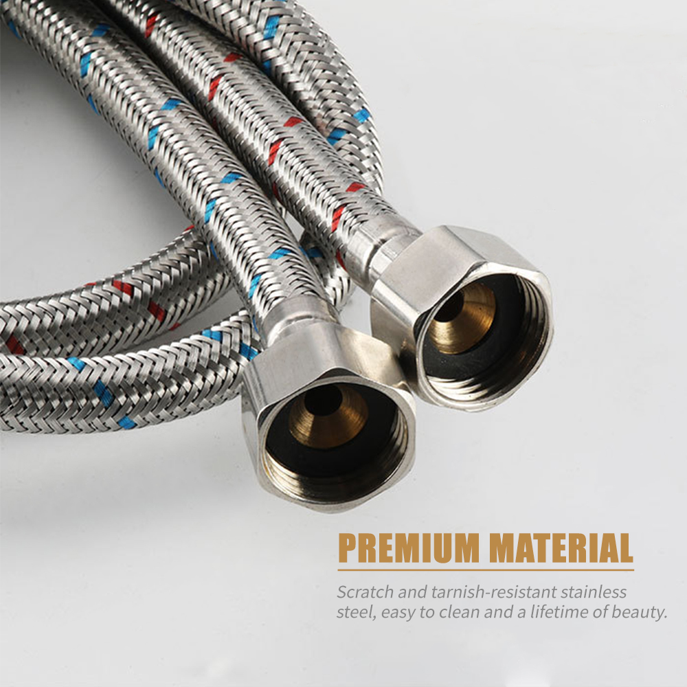 Fdit Household Water Inlet Hose Pipe Tube 9//16 ABS Toilet Braided Stainless Steel Braided Washer Hoses Bathroom Accessories