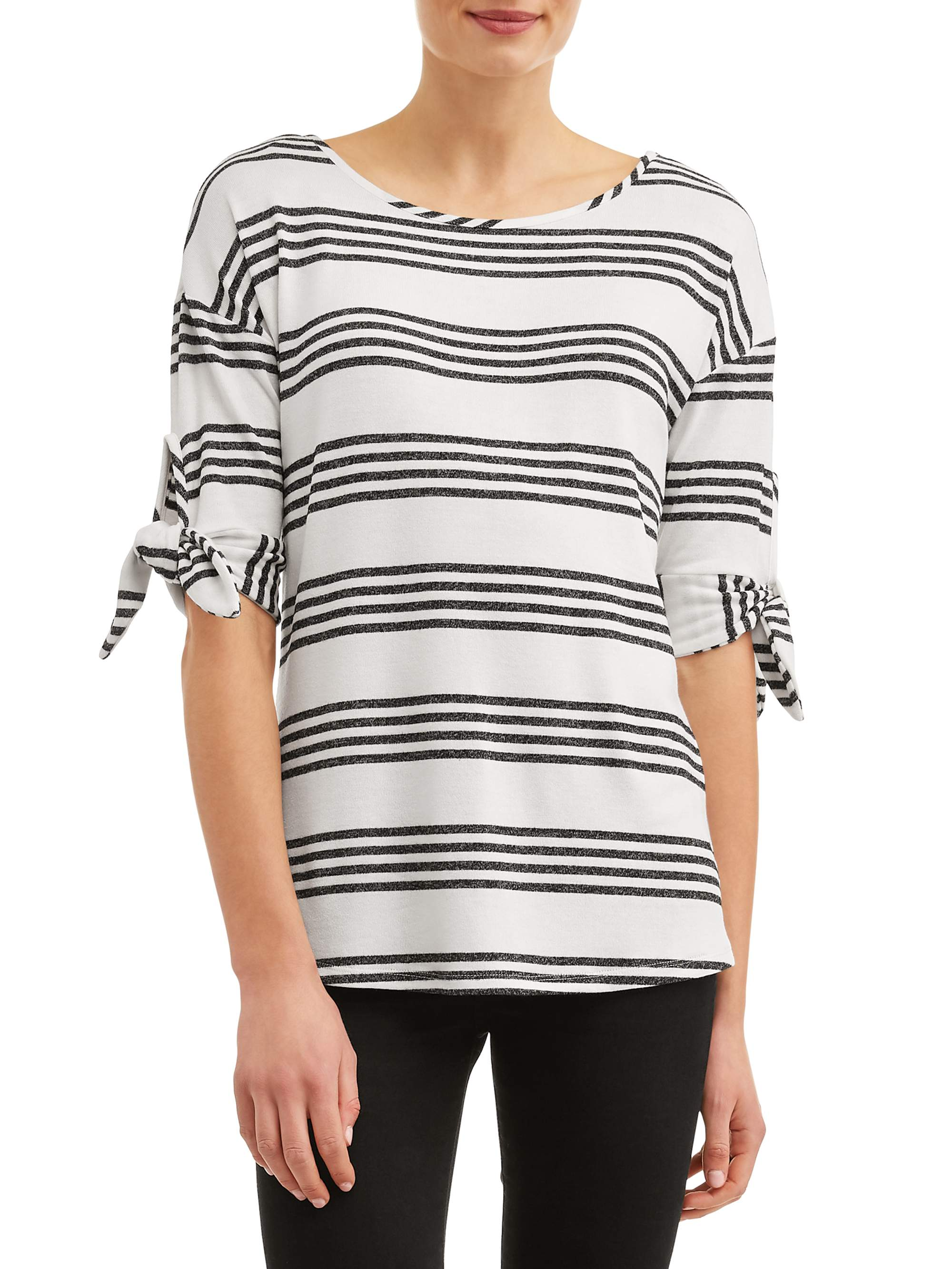 Women's Striped 3/4 Tie Sleeve Top
