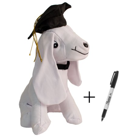 Tall Autograph (9.5in Tall Plush Graduation Grad Cap Signature Autograph Dog w)