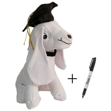9.5in Tall Plush Graduation Grad Cap Signature Autograph Dog w - Graduation Dog