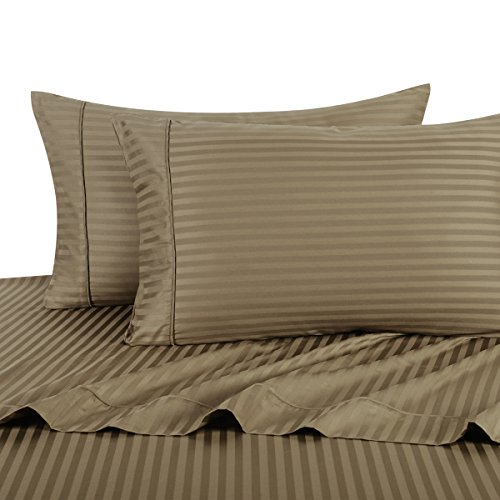Sheetsnthings 100% Cotton, Bed Sheet Set - 600TC, California King Taupe Stripes - Soft, Deep Pocket, 4PC Sheets