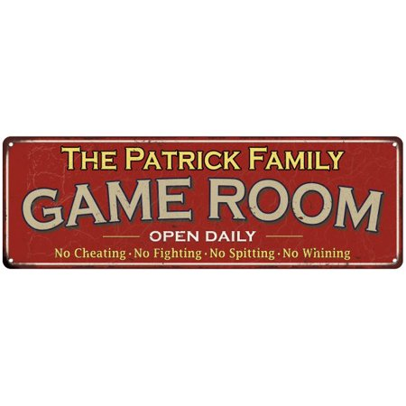 The Patrick Family Personalized Red Game Room Metal 8x24 Sign 108240038726](Patrick Games)