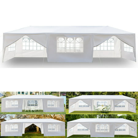 Top Knobs 10' x 30' Outdoor White Waterproof Gazebo Canopy Tent with Removable Sidewalls and Windows Heavy Duty Tent for Party Wedding Events Beach BBQ (10' x 30' with 8 - Event Party Tent