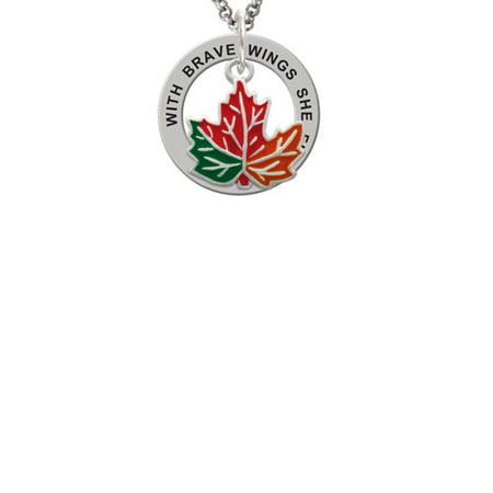 Silvertone Large Orange Fall Leaf Brave Wings Affirmation Ring Necklace - Orange Necklaces