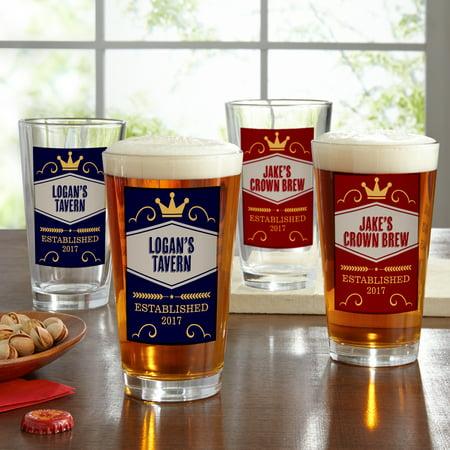 Personalized Crown Brew Pub Glass