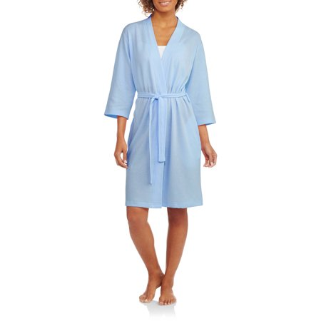 Women's and Women's Plus Light Weight Waffle Sleep Robe - Kids Black Robe