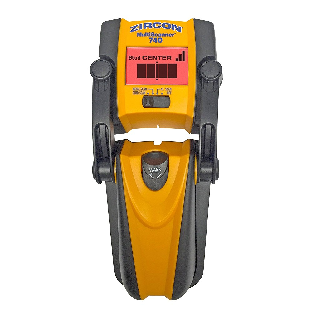 Zircon International MS 740 Multi Scanner Center-Finding Stud Finder with Metal Detection and Live AC Wire Tracing for Rough or Textured Walls