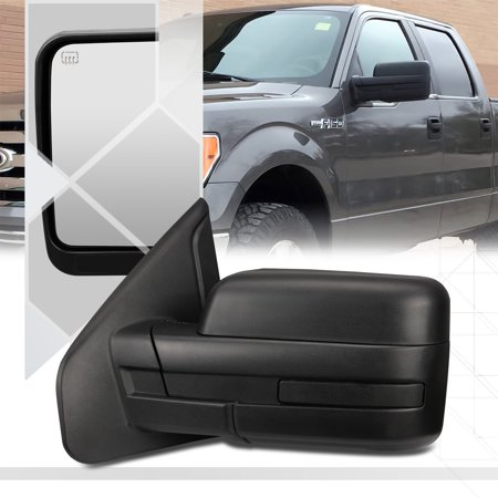 [Left]Driver Side Manual Adjust Foldable Replacement Mirror for 04-14 Ford F150 05 06 07 08 09 10 11 12 (Ford Bronco Black Manual Mirror)