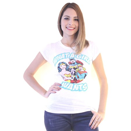 Dc Comics Heroines What A Girl Wants Quote White T Shirt Walmartcom