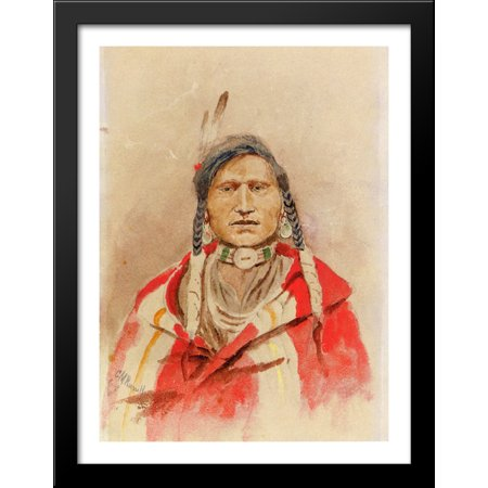 - Portrait of an Indian 28x36 Large Black Wood Framed Print Art by Charles M. Russell