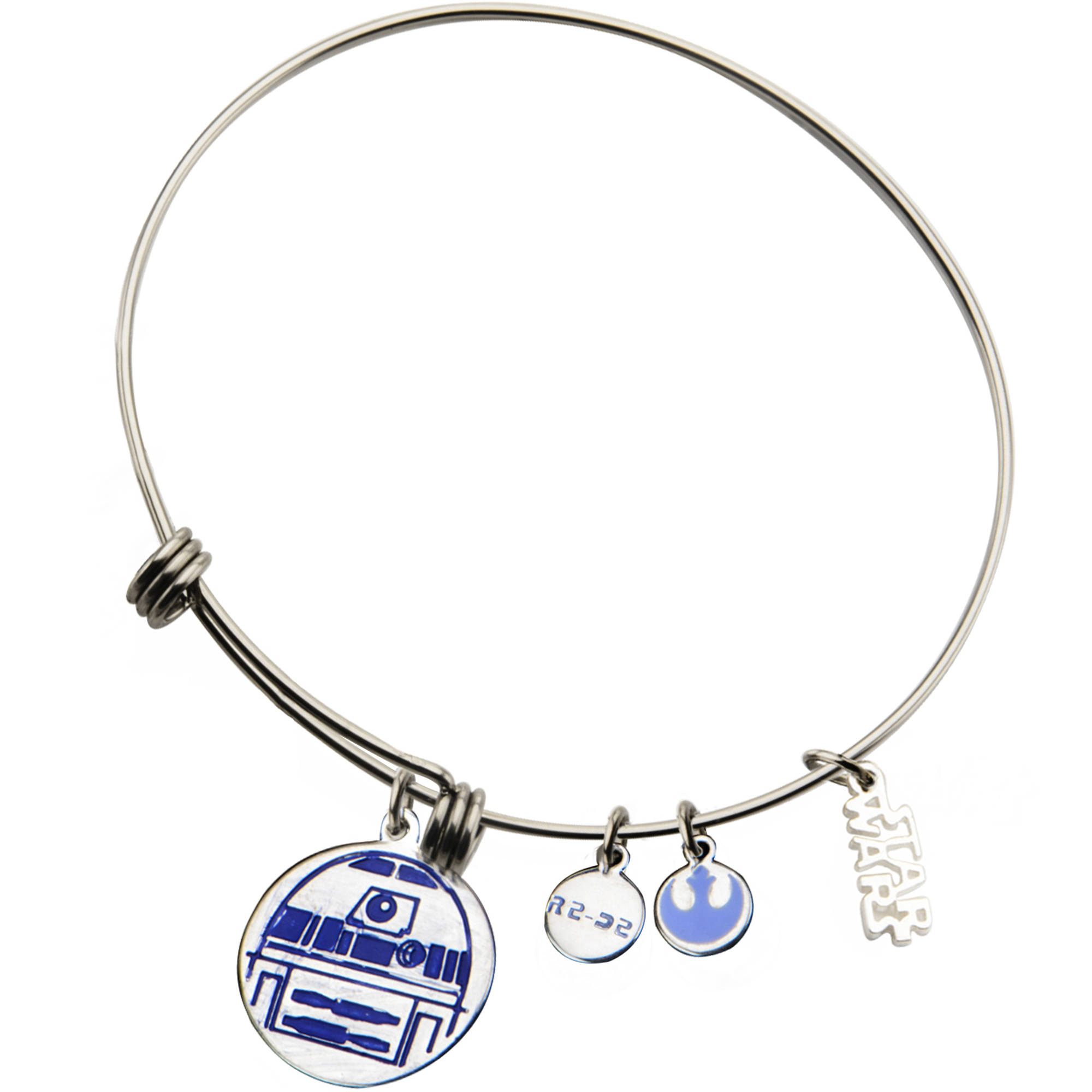 Disney Star Wars Women's Stainless Steel R2-D2 Blue Enamel-Filled Charm Bangle Bracelet, 7.5""