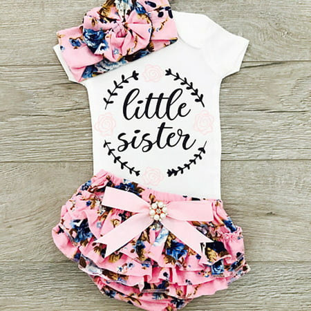 Newborn Infant Baby Girls Outfit Clothes Tops Romper Jumpsuit Bodysuit+Pants - Pebbles Outfit