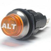 K-Four Large Amber Alt Engraved For Alternator Indicator Warning Light Bolts Into A 3/4 Inch Hole