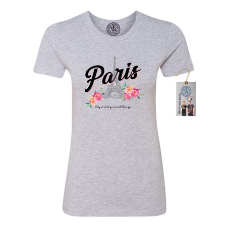 Paris Tower Flower Vacation Summer Womens Short Sleeve Shirt
